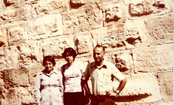 From left: Helen Soleymani, unknown family friend and Eliyahu Soleymani (Date: August 20, 1978, Location: Western Wall, Jerusalem, Israel)